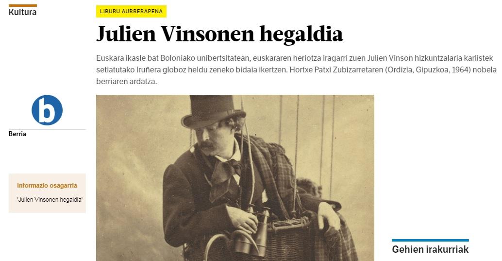 'Julien Vinsonen Hegaldia' liburuaren aurrerapena Berrian