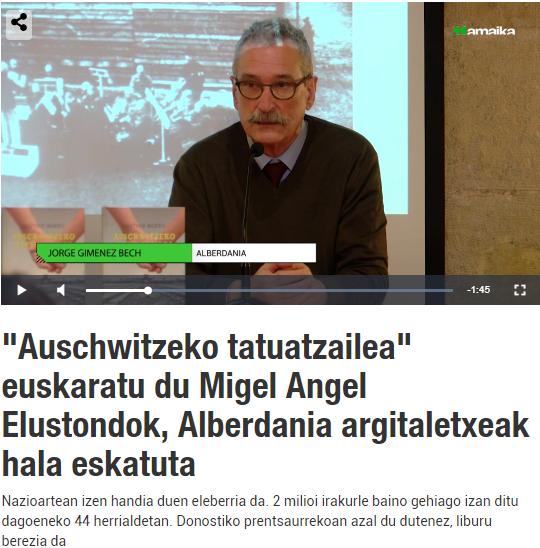 Auschwitzeko Tatuatzailea liburuaren aurkezpena