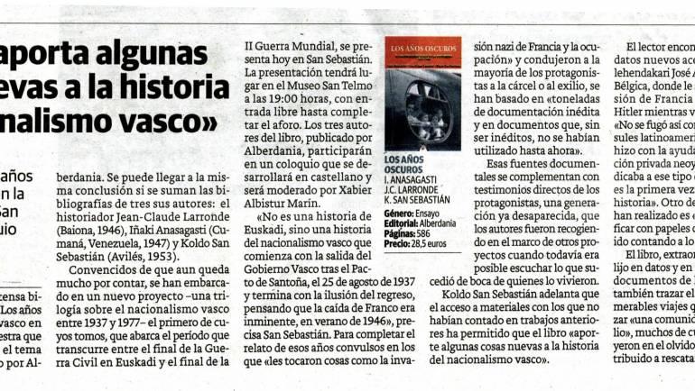 """Sobre """"Los años oscuros"""" en el Diario Vasco"""