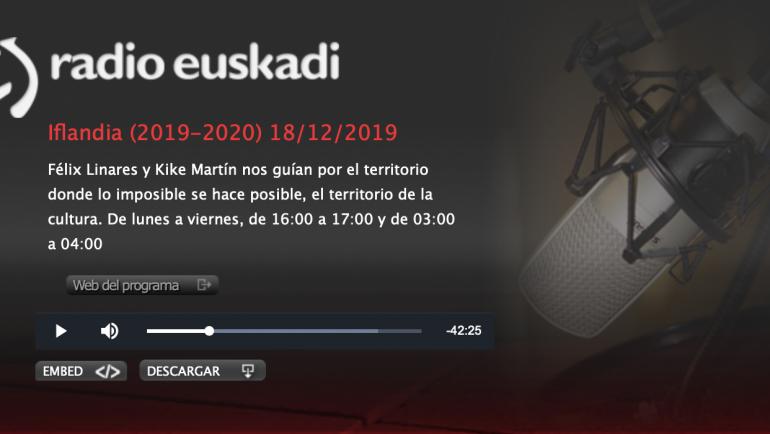 El escritor de OKURI CONFIDENCIAL habla en el programa de Radio Euskadi Iflandia
