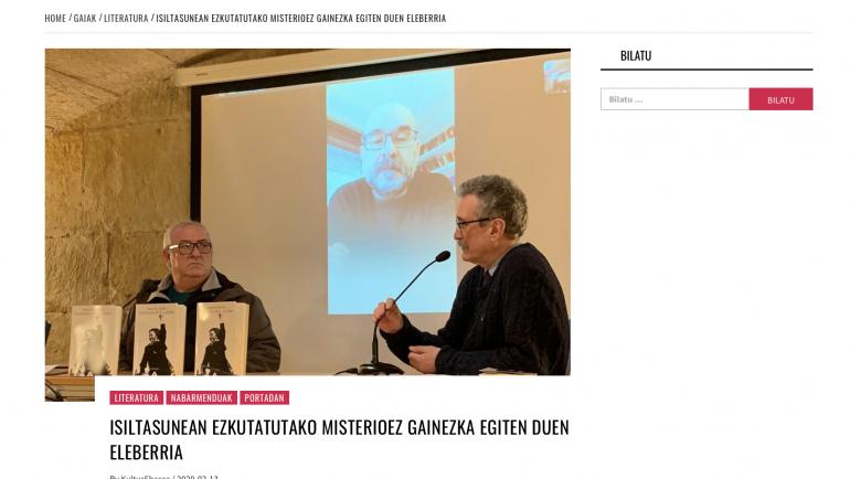 """KulturSharea: """"ISILTASUNEAN EZKUTATUTAKO MISTERIOEZ GAINEZKA EGITEN DUEN ELEBERRIA"""""""