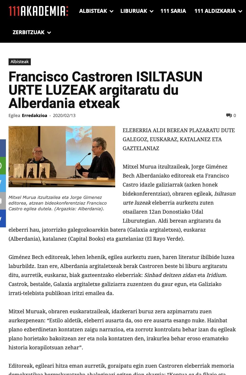 """111Akademia: """"Francisco Castroren ISILTASUN URTE LUZEAK argitaratu du Alberdania etxeak"""""""