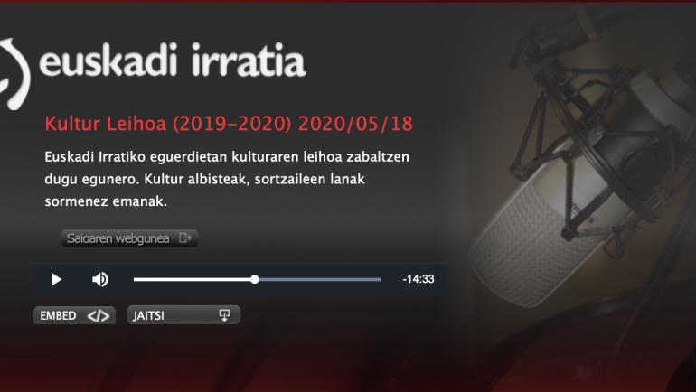 Euskadi Irratiko KULTUR LEIHOA saioan ere egin diote aipamena NOIZ ARTE ARRAZOI liburuari
