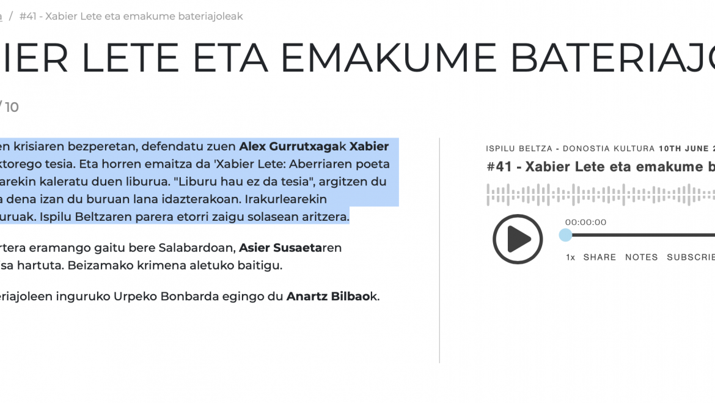 ISPILU BELTZA: #41 – XABIER LETE ETA EMAKUME BATERIAJOLEAK