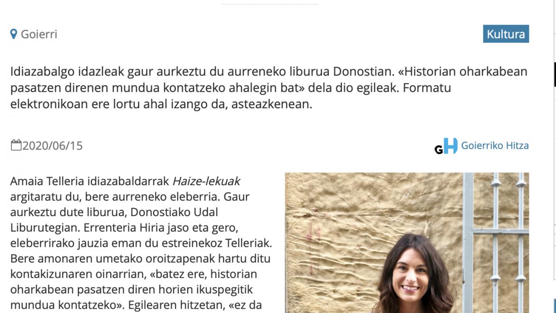 Goierriko Hitza: Amaia Telleriak 'Haize-lekuak' eleberria argitaratu du