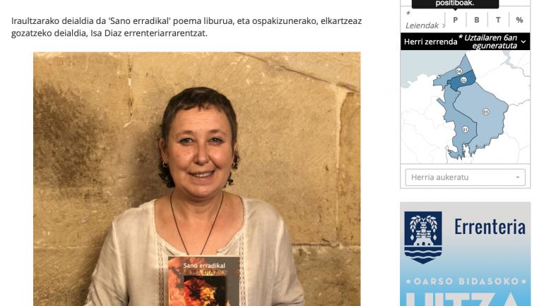 Oarsoaldeko Hitza: Isa Diazek, 'Sano erradikal' poema liburua aurkeztu du