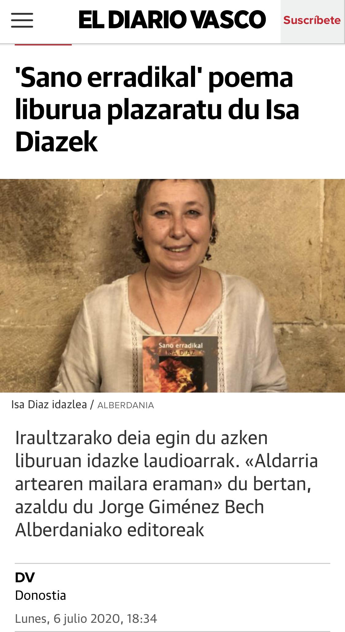 El Diario Vasco: 'Sano erradikal' poema liburua plazaratu du Isa Diazek